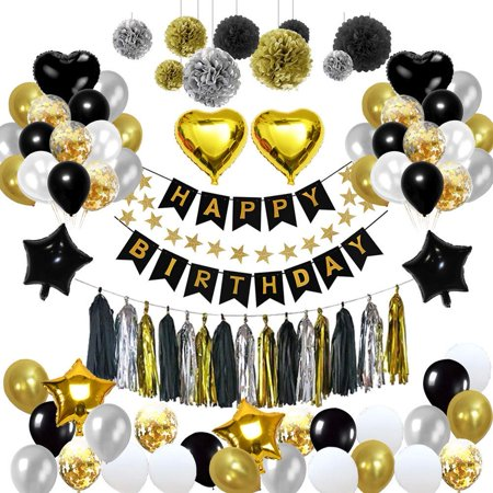 Decorations For 30th Birthday Party (Birthday Decorations, Birthday Party Decoration Kit 99pcs Happy Birthday Confetti Balloons with Paper Pom Pom Black and Gold for 13th 16th 18th 21st 30th 40th 50th 60th 70th 80th Party)