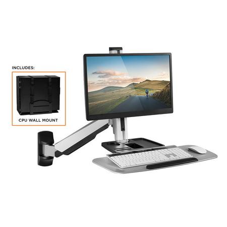 mount it standing desk wall mount workstation with cpu holder mi 7905. Black Bedroom Furniture Sets. Home Design Ideas