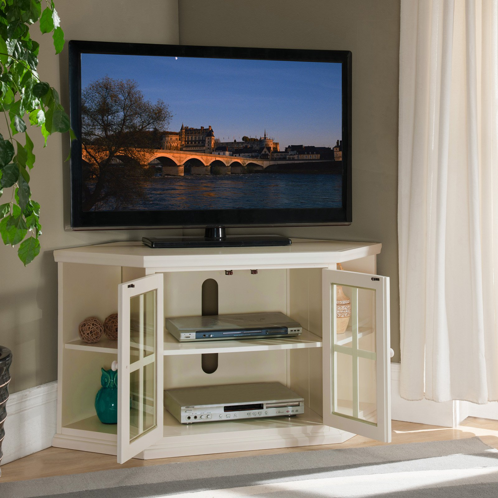 Leick Home 46 Corner Tv Stand W Bookcases For Tv S Up To 50 White