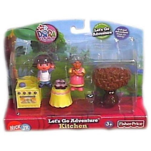 Dora the Explorer Kitchen Playset, Includes two figures each and several accessory pieces... by