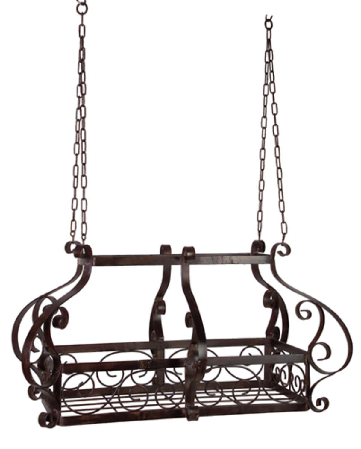 "35"" Elaborate Hanging Wrought Iron Decorative Kitchen Pot ..."