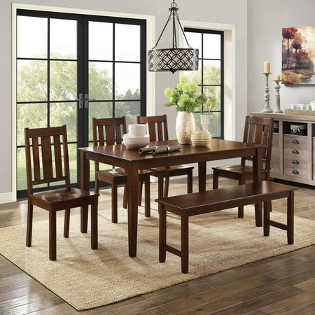 Better Homes and Gardens Bankston 6-Piece Dining Set, (6 Piece Dining Set With Bench Espresso)