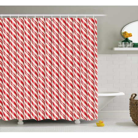 Candy Cane Shower Curtain Red Christmas Candies Pattern With Diagonal Stripes Traditional Winter Sweets