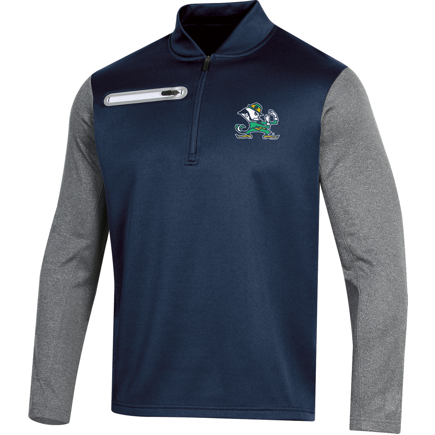 Men's Russell Navy Notre Dame Fighting Irish Colorblock Half-Zip Pullover Jacket