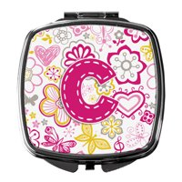 Letter Flowers and Butterflies Teal Blue Compact Mirror CJ2006