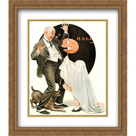 Norman Rockwell Halloween Prints (Norman Rockwell 2x Matted 28x32 Gold Ornate Large Framed Art Print)