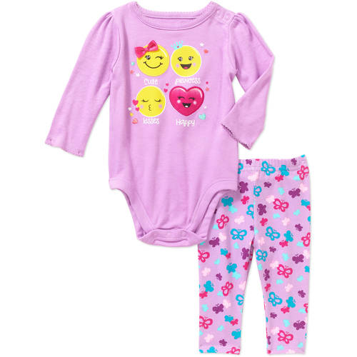 Garanimals Newborn Baby Girls' Graphic Bodysuit and Printed Leggings 2-Piece Outfit Set