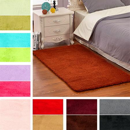 Fluffy Floor Rug Anti-skid Shaggy Area Rug Dining Room Carpet Yoga Bedroom Floor Mat / Cover Child Play Mat Parlor Bedroom Decor ❤ 60x120cm/ 23.62x47.2