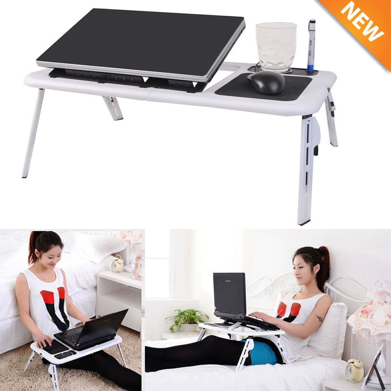 Portable Adjustable Foldable Laptop Desk Table Stand Bed Notebook Tray+ Fan