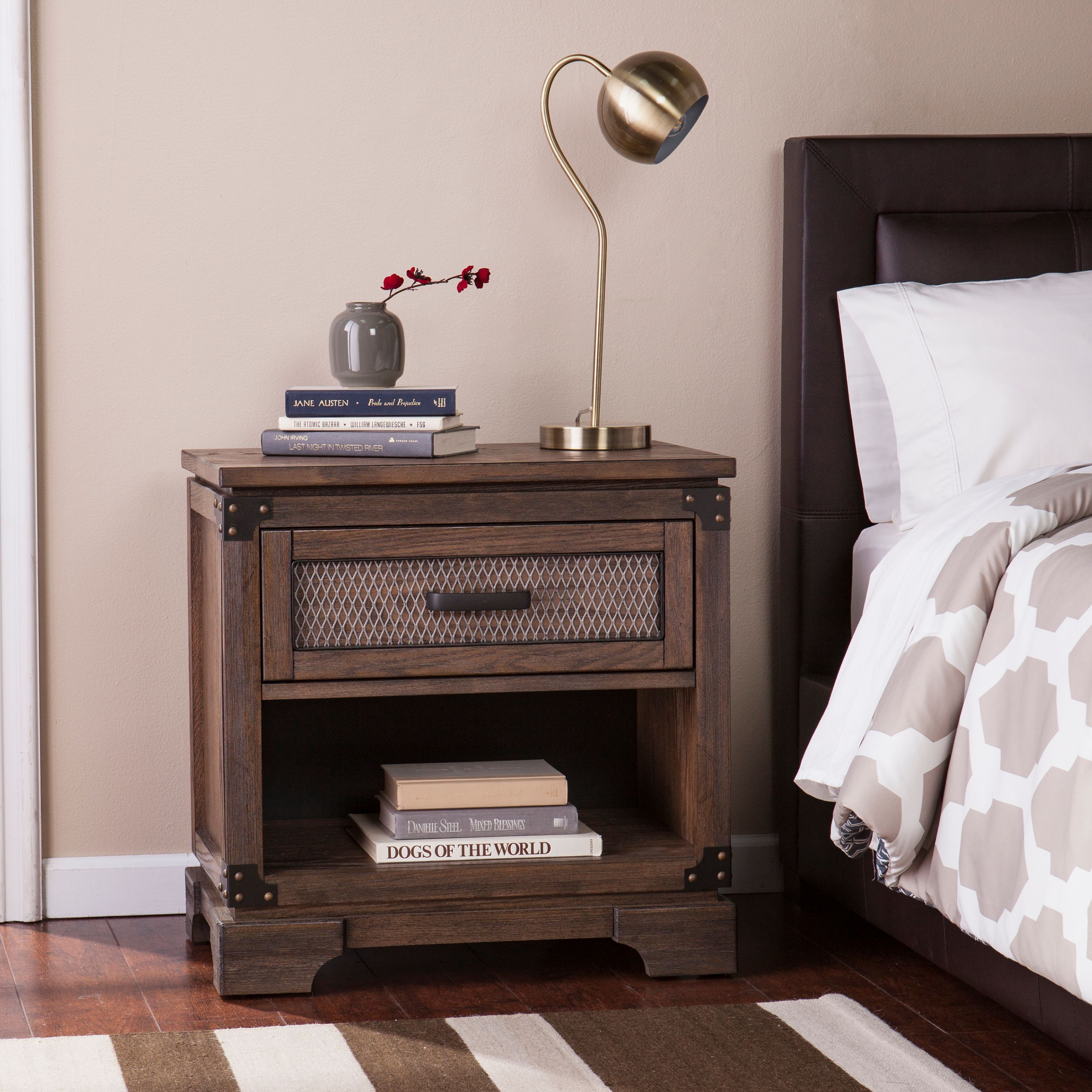 Southern Enterprises Delacor Single-Drawer Nightstand, Industrial Style, Antiqued Whiskey Maple