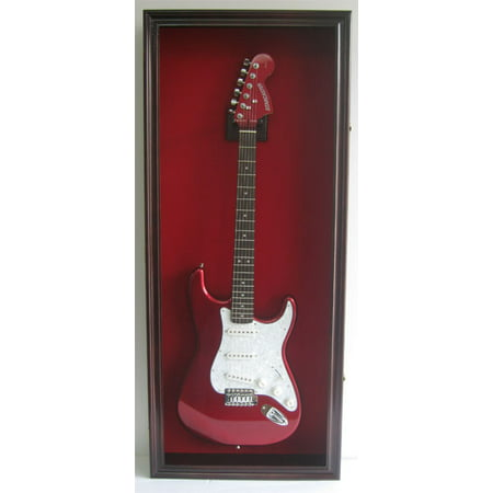 Electric / Fender Guitar Display Case Cabinet Wall Hanger Rack, Lockable Door, Mahogany (GTAR2(R)-MA)