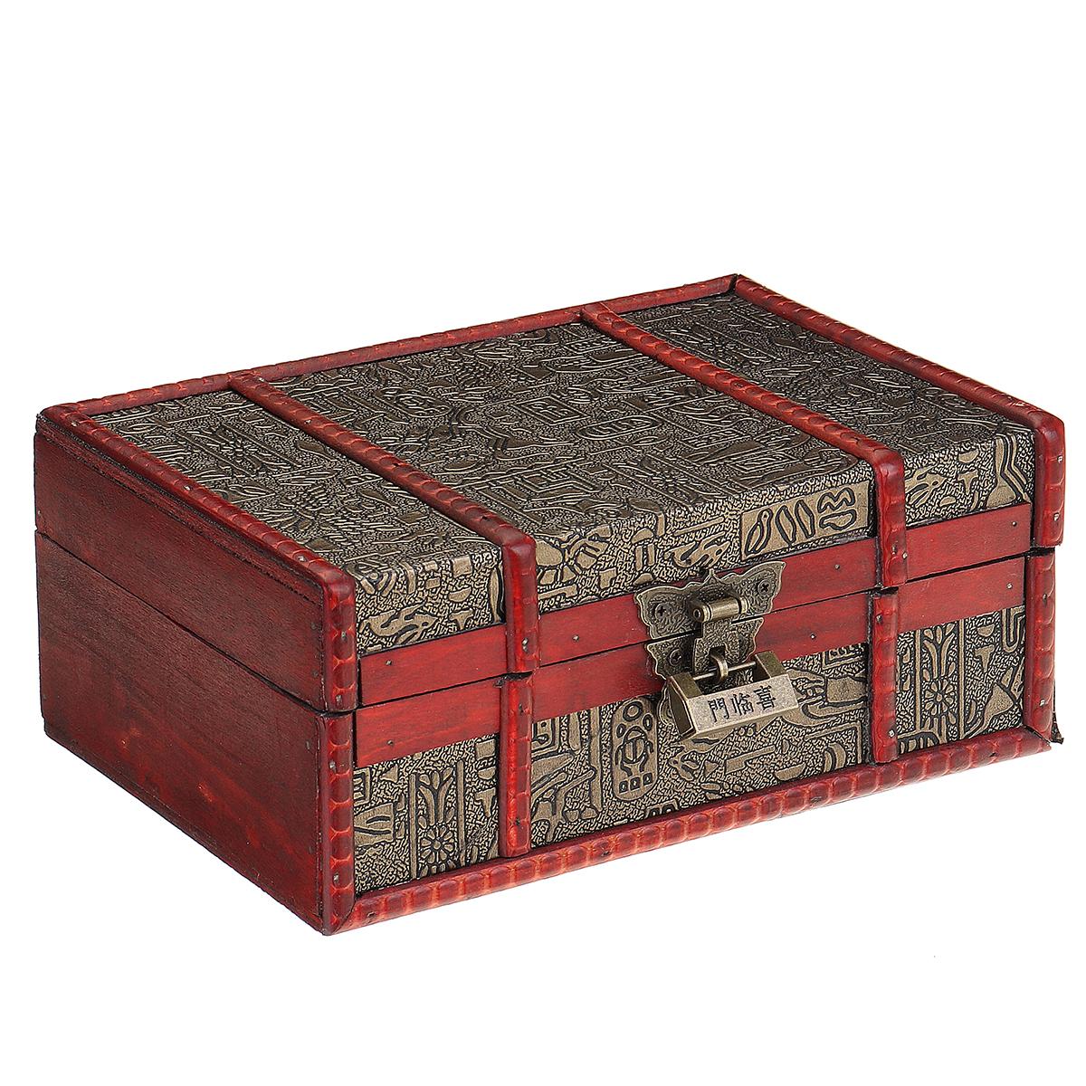 Set Vintage Wooden Pirate Treasure Trinket Chest Jewellery Storage Box Case Gift