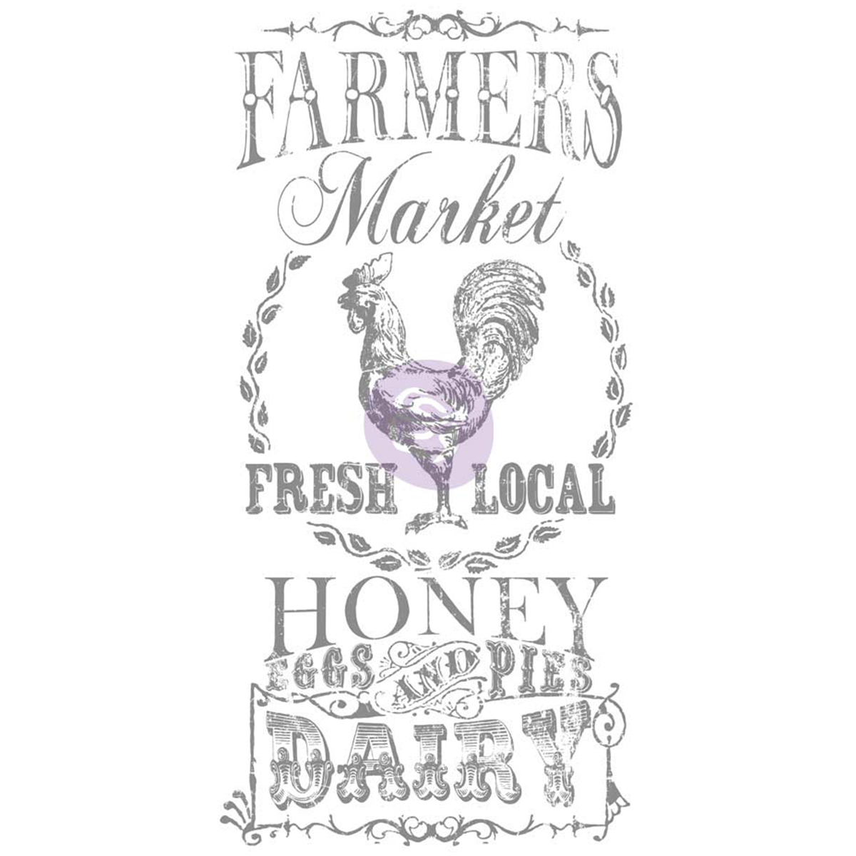 "Iron Orchid Designs Decor Transfer Rub-Ons-Farmer's Market, 18""X36"""
