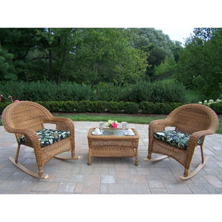 Oakland Living All Weather Wicker Rocker And Coffee Table Set