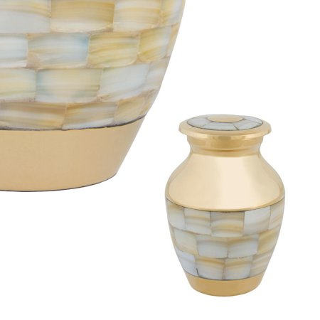- Perfect Memorials Brass Mother Of Pearl Keepsake Cremation Urn