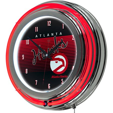 Atlanta Hawks Hardwood Classics NBA Chrome Neon Clock by