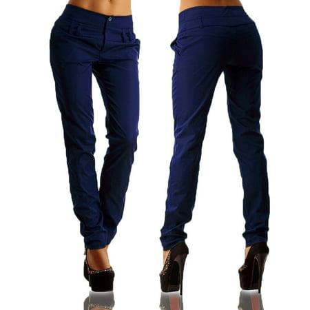 Plus Size Women's High Waist Slim Skinny Trousers Office Dressy Casual Haren (Dressy Sling)