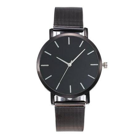 Women Elegant Casual Quartz Stainless Steel Band Strap Watch Concise Decoration black