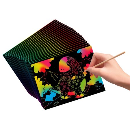 VHALE 30 Sheets Scratch and Sketch Art Paper with 12 Wooden Styluses to Create Fun Art, Drawing, Painting, Writing, Doodling, Creative Arts and Crafts, Great Travel Toys and Party Favors for Kids ()