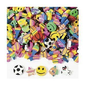Fun Express Mini Eraser Assortment Novelty (1-Pack of 500) - 2-Pack of 500