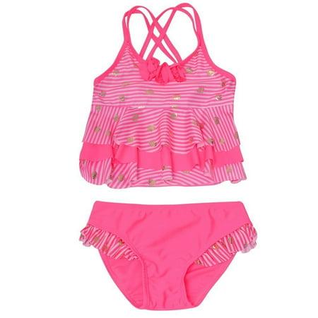 Real Love Girls Pink Stripe Seashell Print 2 Pc Tankini Swimsuit