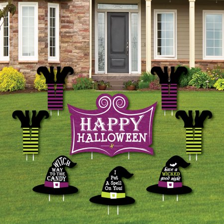 Happy Halloween - Yard Sign & Outdoor Lawn Decorations - Witch Party Yard Signs - Set of 8