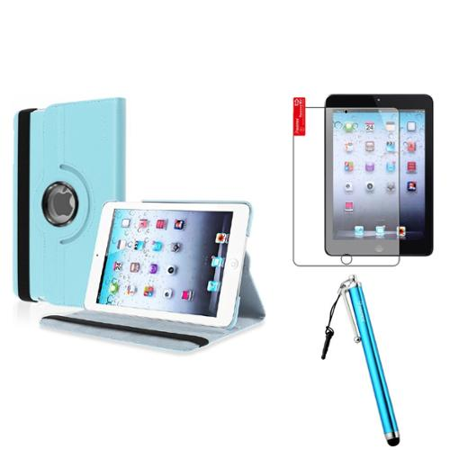 iPad Mini 3/2/1 Case, by Insten Light Blue 360 Leather Case Cover+Matte Guard for iPad Mini 3 2 1