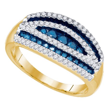 Diamond Gold Cocktail Ring - 10k Yellow Gold Womens Blue Color Enhanced Round Diamond Striped Cocktail Band Ring 3/4 Cttw