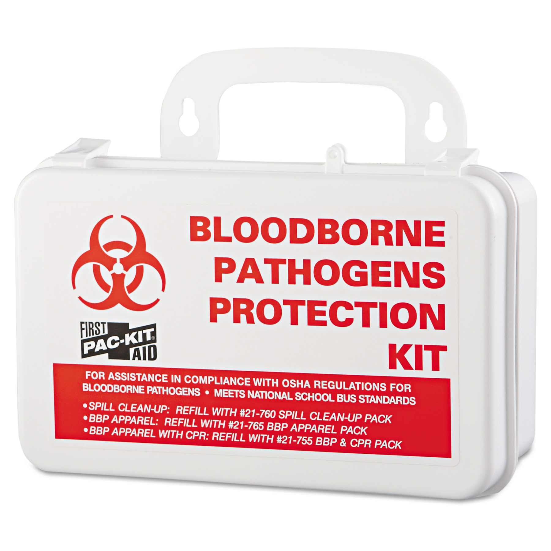 "Pac-Kit Small Industrial Bloodborne Pathogen Kit, Plastic Case, 4.5""H x 7.5""W x 2.75""D -PKT3060"