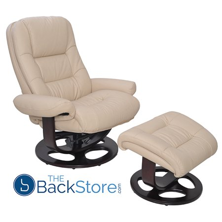 Barcalounger Jacque II Leather Recliner & Ottoman in Hilton (Barcalounger Leather Recliner)