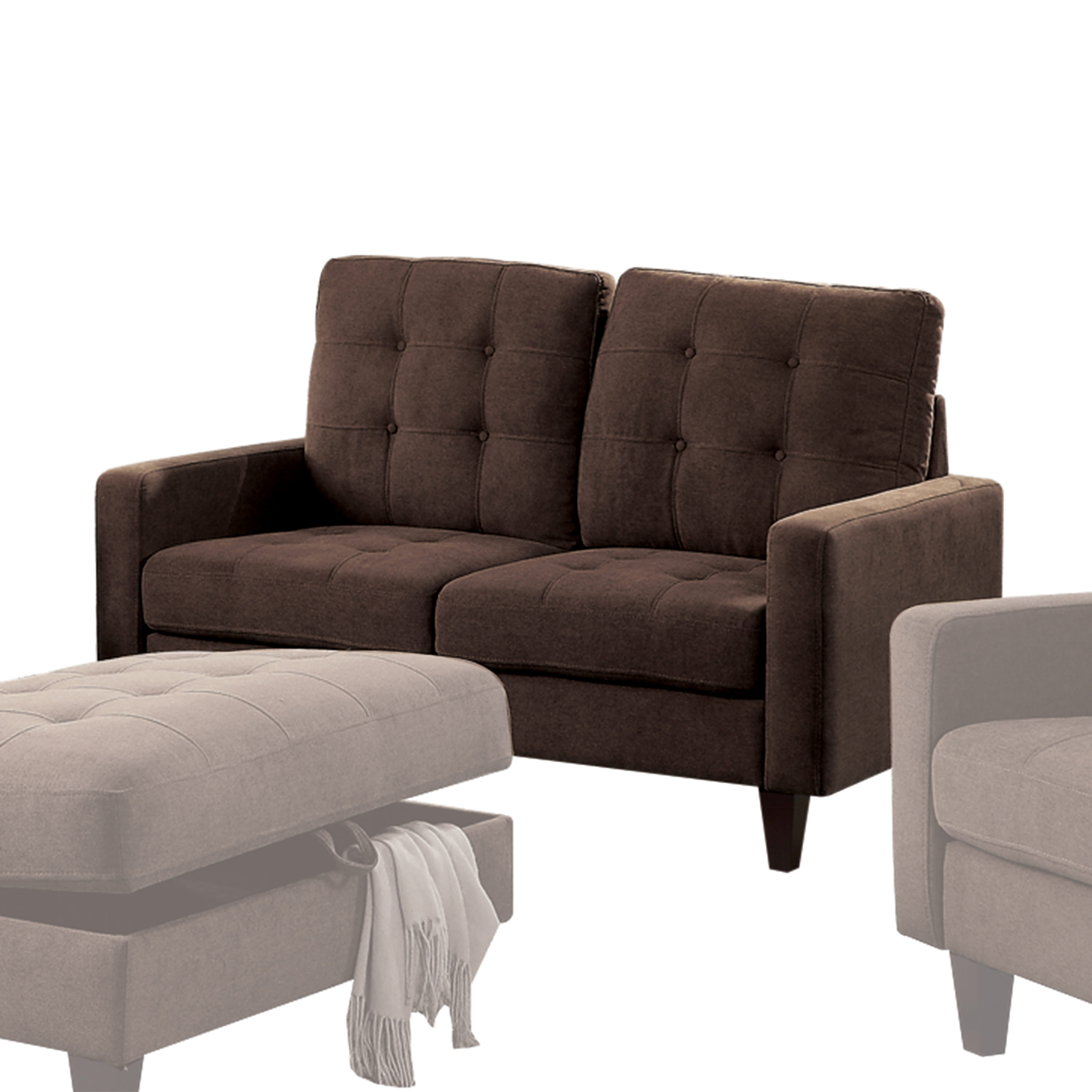 Acme Nate Memory Foam Loveseat with Tufting in Chocolate Fabric