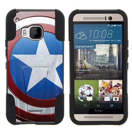 Htc One M9  2015  Strike Impact Dual Layered Shock Resistant Case With Built In Kickstand By Miniturtle    American Shield Flag