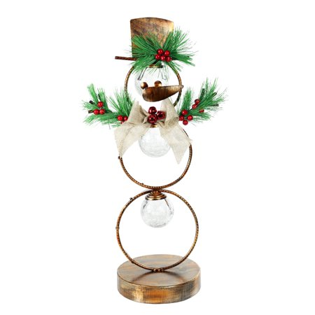 - Alpine Christmas Snowman Metal Tabletop Décor with Timer, 20 Inch Tall