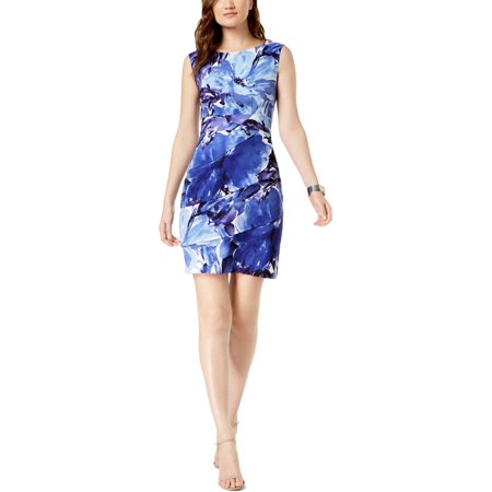 Connected Apparel Womens Petites Printed Daytime Sheath Dress