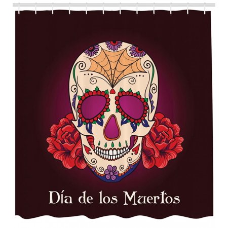 Day Of The Dead Shower Curtain Dia De Los Muertos Quote Spanish Skull Head Skeleton Vivid Print Fabric Bathroom Set With Hooks Plum Red Cream