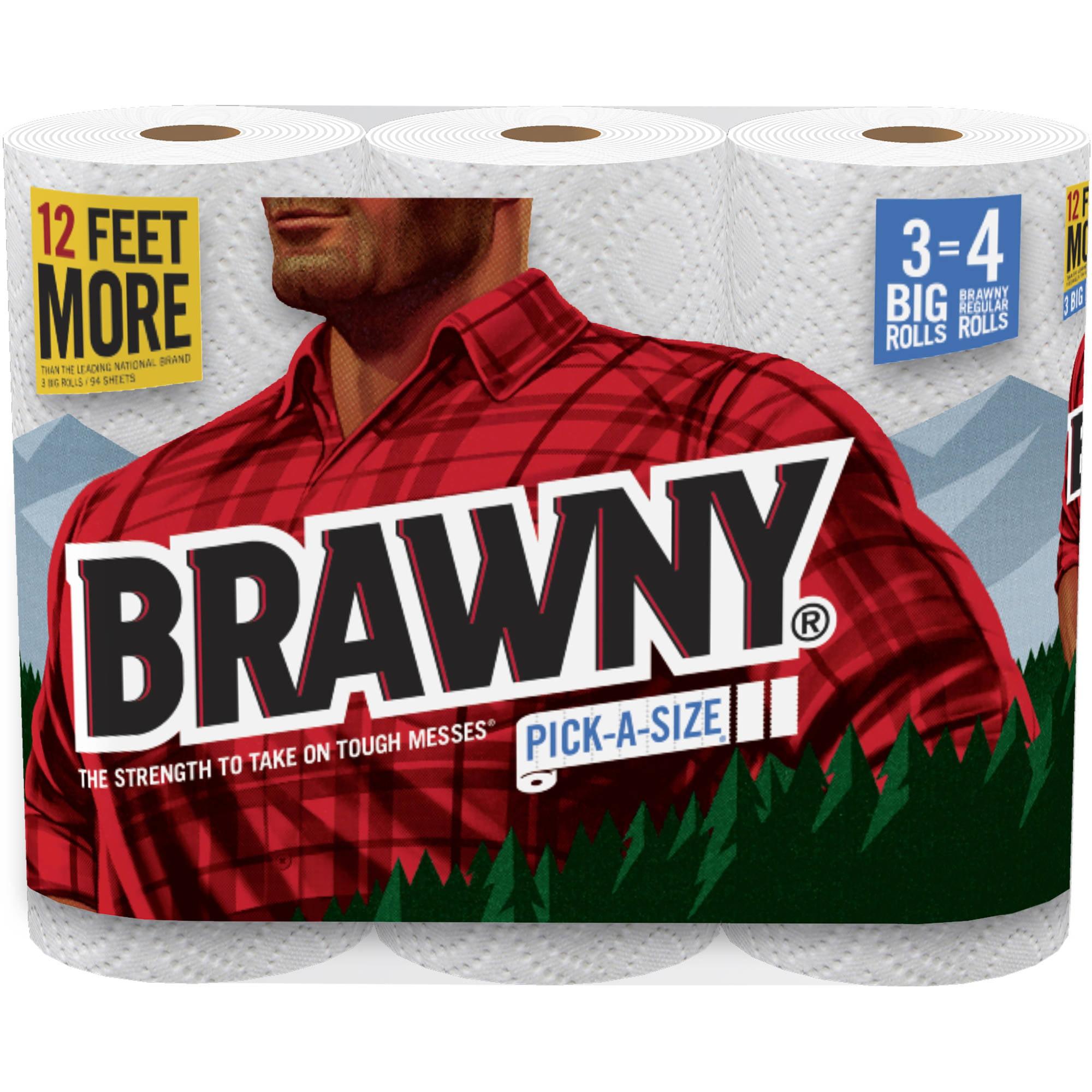 Brawny Pick-a-Size Big Roll Paper Towels, 104 sheets, 3 rolls