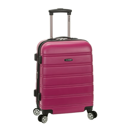 """Rockland Melbourne 20"""" Expandable ABS Carry On Spinner Suitcase - Magenta"""
