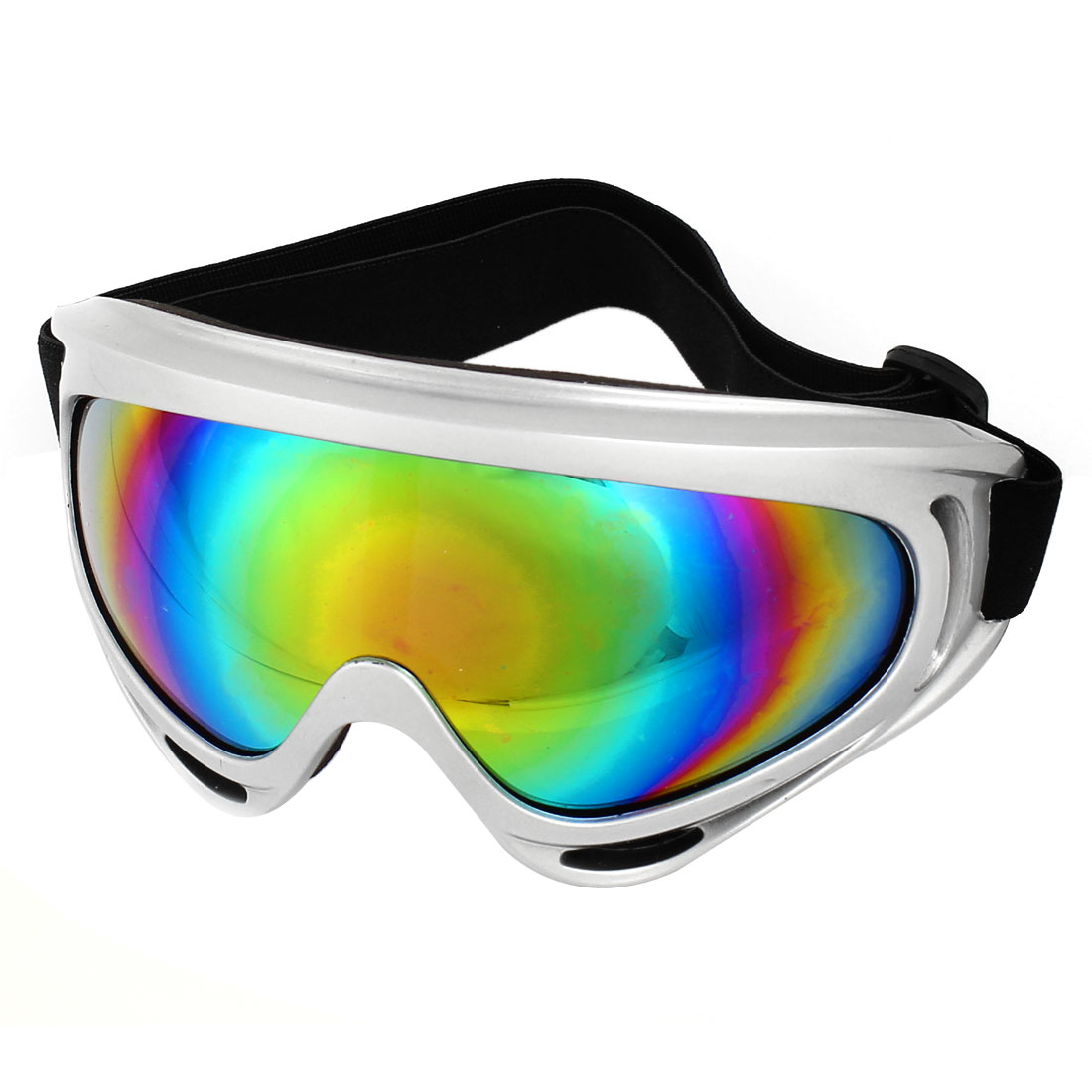 Unique Bargains Silver Tone Frame Coloured Len Protective Adult Sport Snowboard Snow Ski Goggles