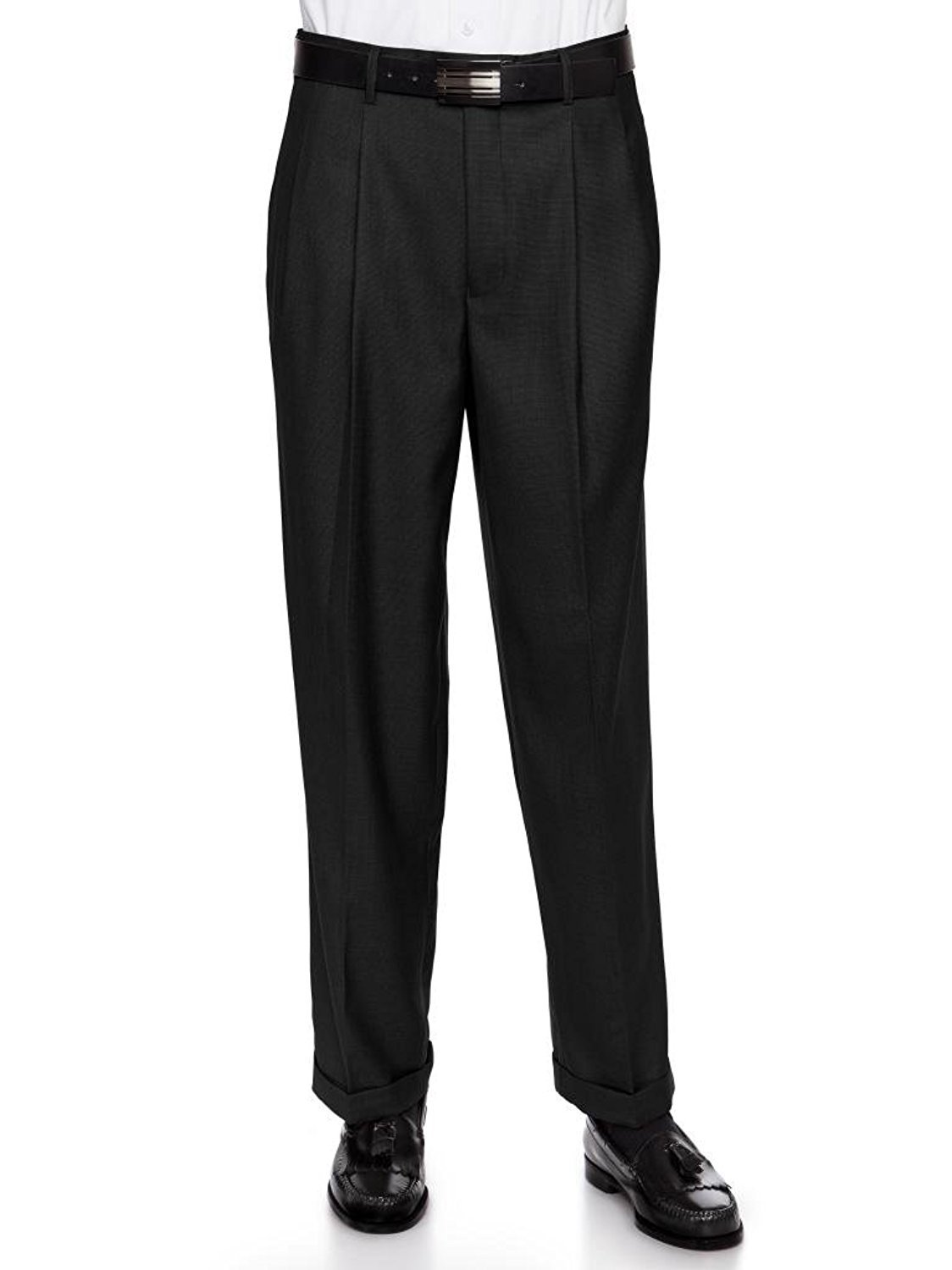 Giovanni Uomo Mens Pleate Front Traditional Fit Dress Pant