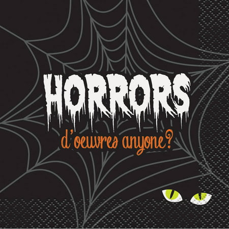 Horrors D'oeuvres Halloween Cocktail Napkins, 5 in, 16ct - Halloween Horror Sounds Effects