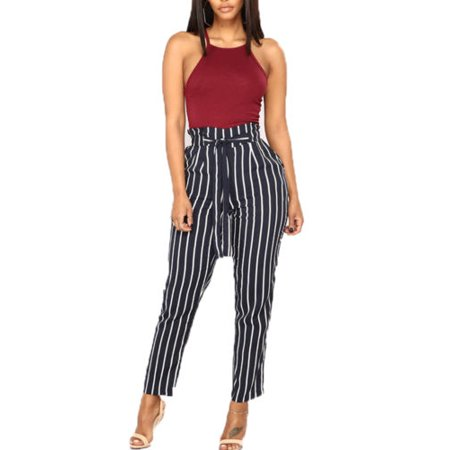 Womens High Waist Paperbag Cigaratte Trousers Striped Summer Casual Long Pants ()