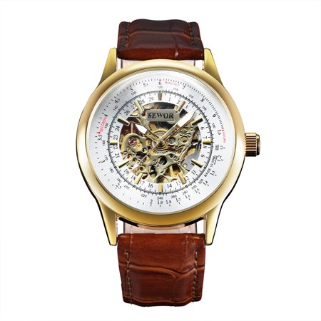 - Automatic Mechanical Mens Wrist Watch Vintage Brown Leather Strap Leather