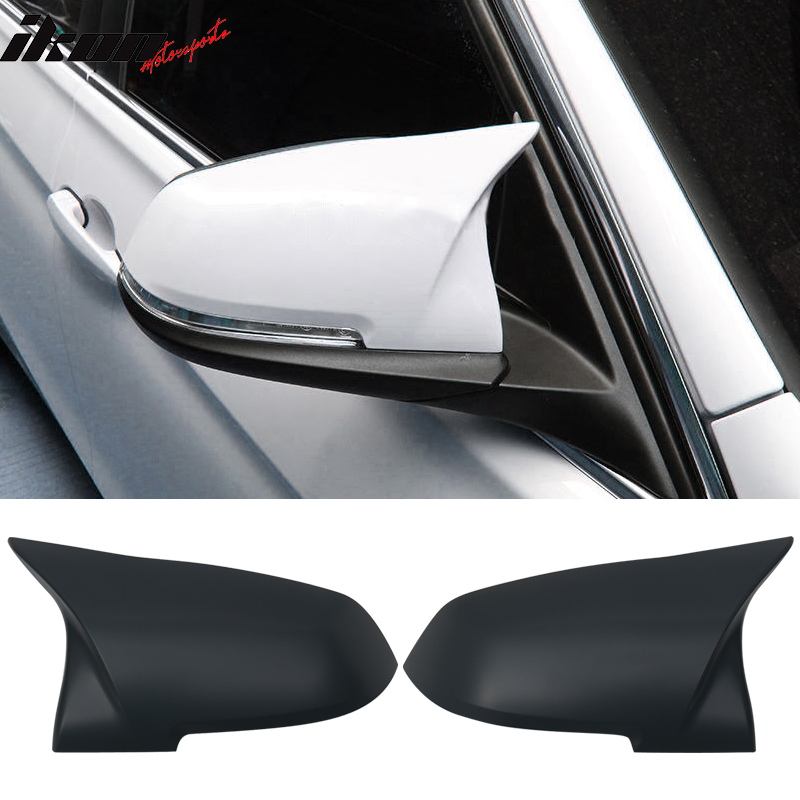Fits 12-18 F30 3 Series OE Replacement M Sports Matte Black Mirror Cover Pair