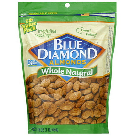 Blue Diamond Whole Natural Almonds, 16 oz  (Pack of