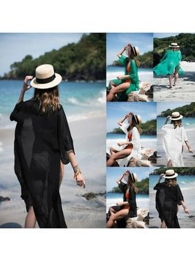 09a27238ca1a9 Product Image Women Chiffon 3 4 Sleeves Beach Dress Kimono Cardigan Swimsuit  Cover Up