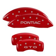MGP 4 Caliper Covers Engraved Front Pontiac Engraved Rear GXP Red finish silver ch