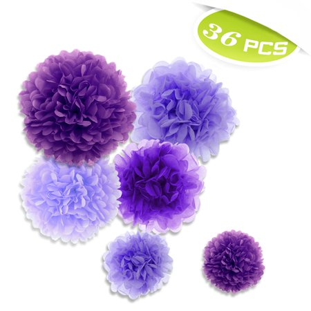 (Price/36 PCS)Aspire 36 Pcs Pom Poms, Mixed Purple Tissue Paper Flowers, Party Favors - Tissue Paper Flowers Easy