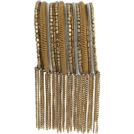Cuff Flowers Bracelet - Gold- and Silver-Tone Fringe Cuff Bracelet
