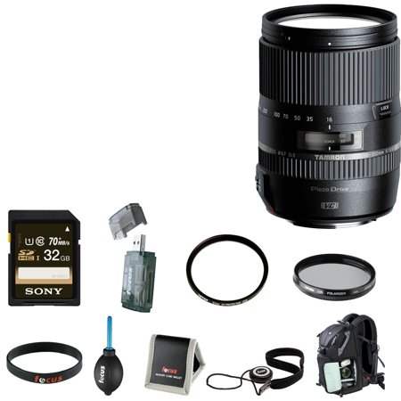 Tamron 16-300mm w/ Hood for Nikon with 32GB Accessory Bundle