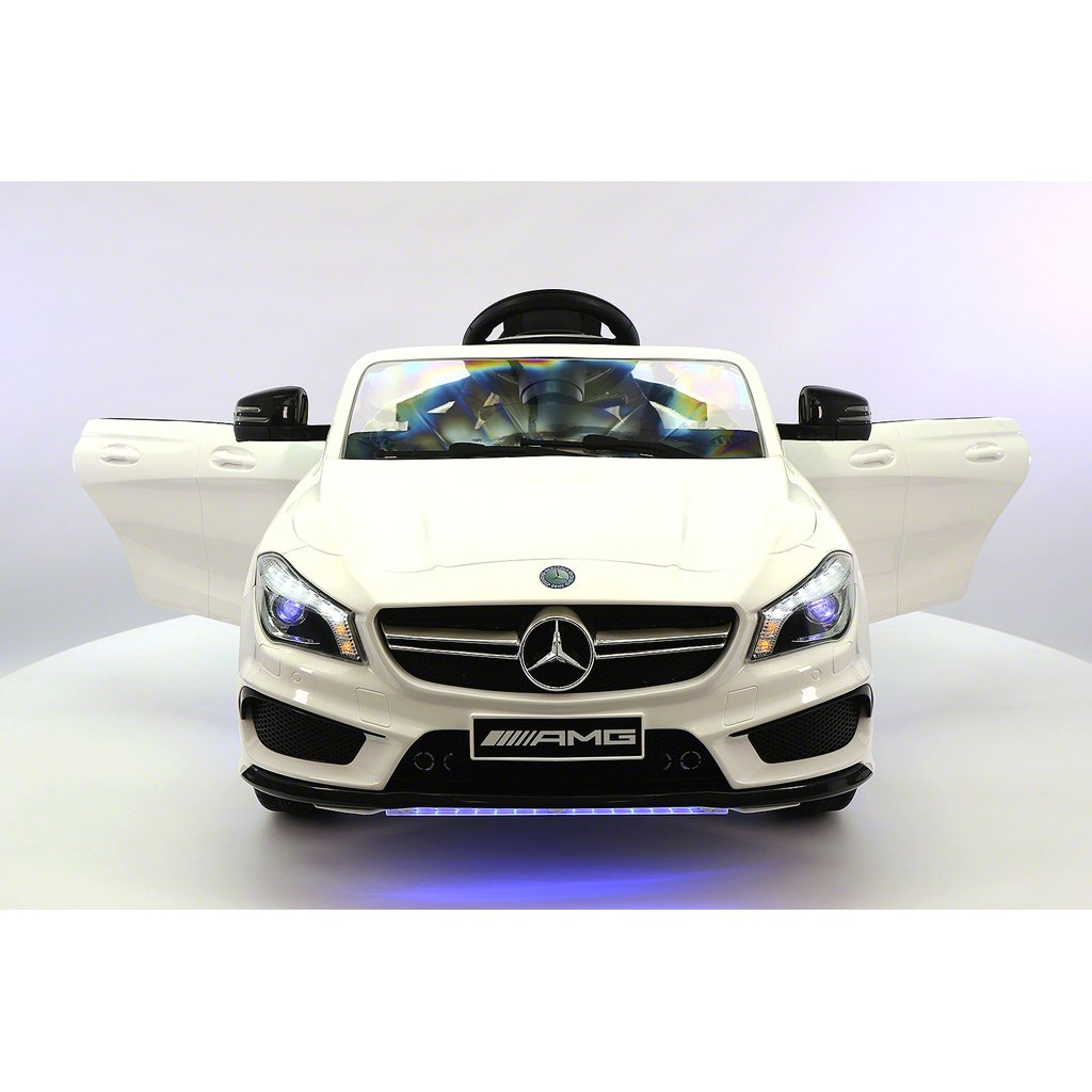 2017 Licensed Mercedes CLA45 AMG, Electric Kids Ride-On Car, Girls&Boys, 2-5 Years, MP3 Player, AUX Input, USB, Rubber Tires, PU Leather Seat, LED Body Trim, 12V  Battery, Parental Remote | White